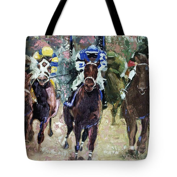 Tote Bag featuring the painting The Bets Are On by Anthony Falbo