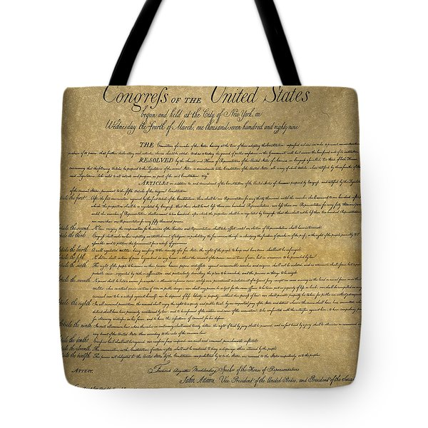The Bill Of Rights, 1789 Tote Bag