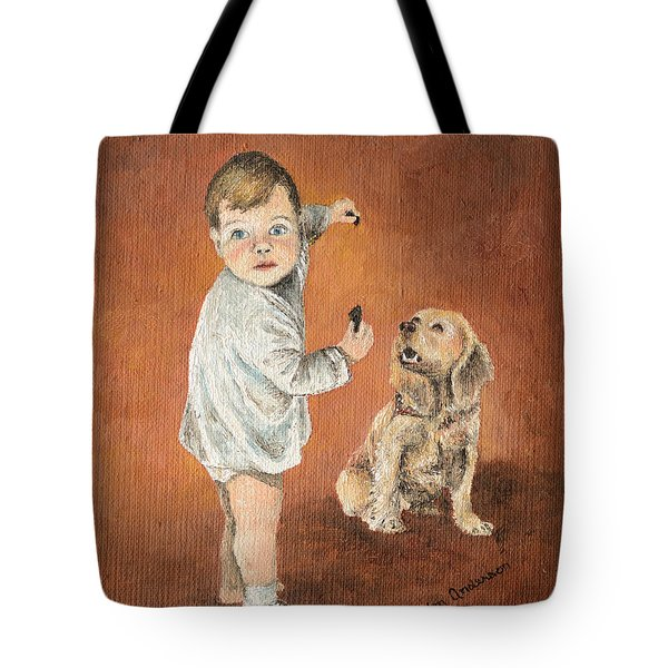 Tote Bag featuring the painting The Guilty Ones by Mary Ellen Anderson