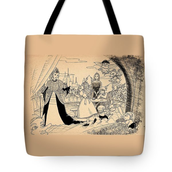 Tote Bag featuring the drawing The Palace Balcony by Reynold Jay