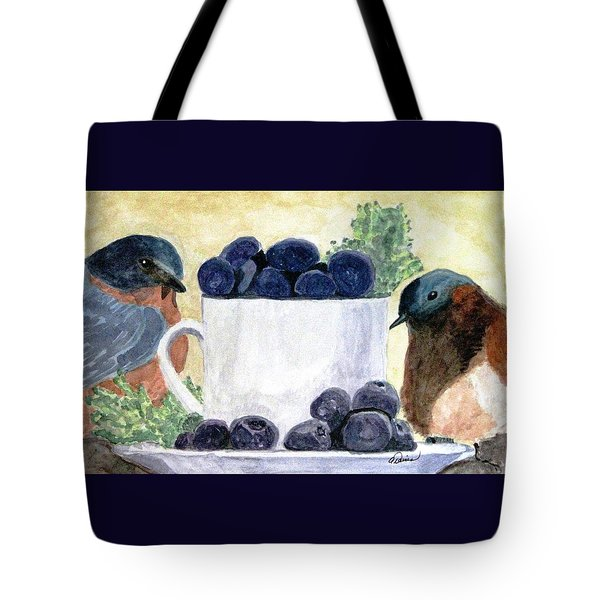 The Temptation Of Blueberries Tote Bag by Angela Davies