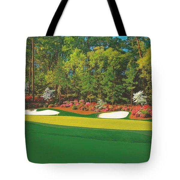 Thirteenth At Augusta Tote Bag by L J Oakes