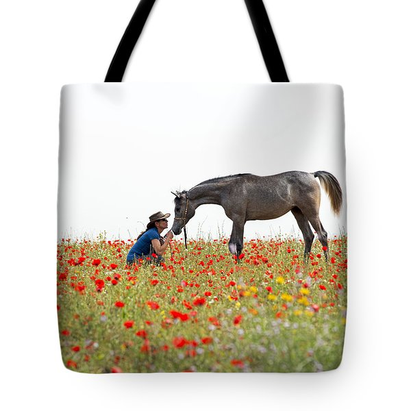 Three At The Poppies' Field... 4 Tote Bag