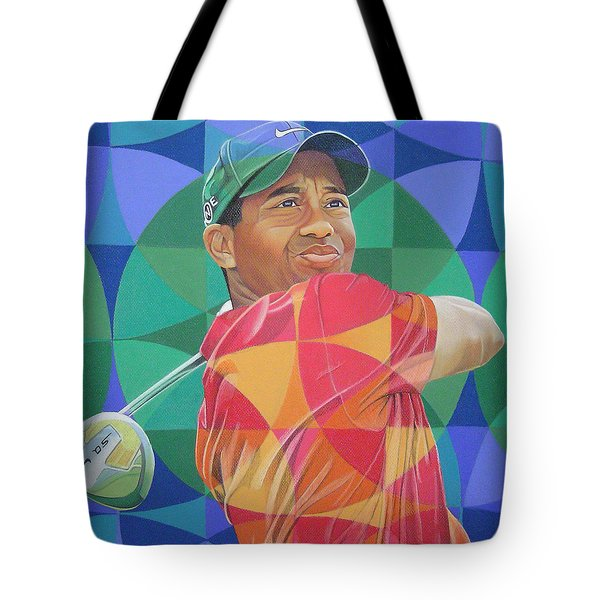 Tote Bag featuring the drawing Tiger Woods by Joshua Morton