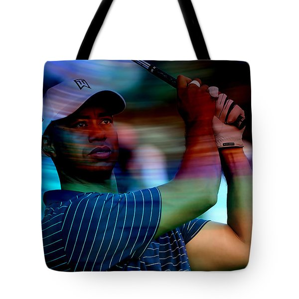 Tiger Woods Tote Bag by Marvin Blaine