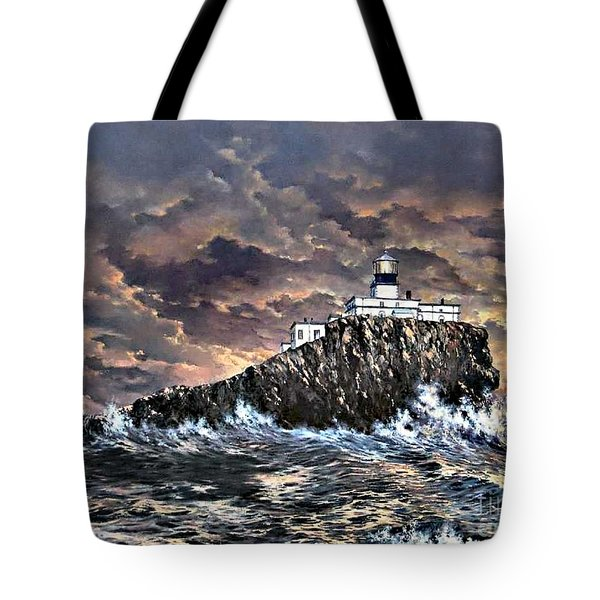 Tote Bag featuring the painting Tillamook Rock Light by Lynne Wright
