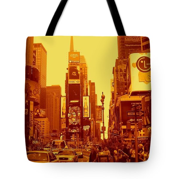 42nd Street And Times Square Manhattan Tote Bag