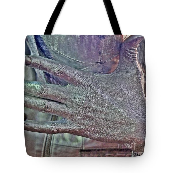 Tote Bag featuring the photograph Tin Man Hand by Lilliana Mendez