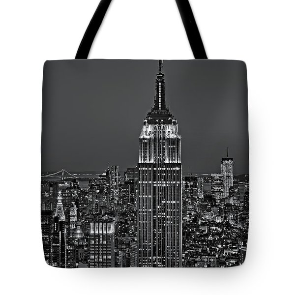 Top Of The Rock Bw Tote Bag by Susan Candelario
