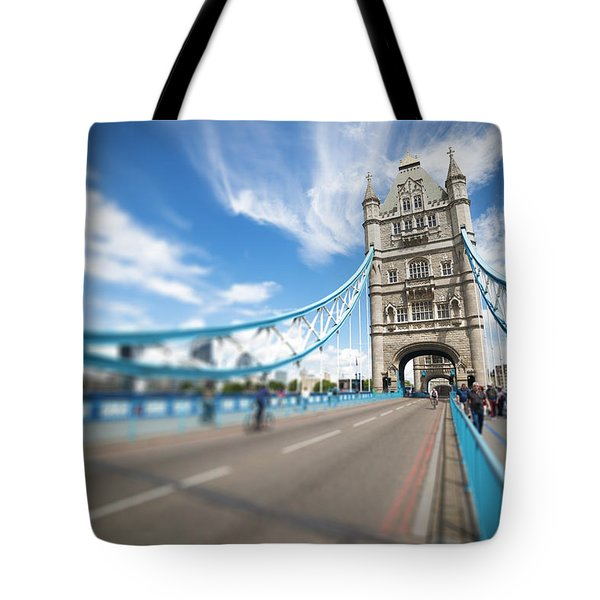 Tower Bridge In London Tote Bag by Chevy Fleet