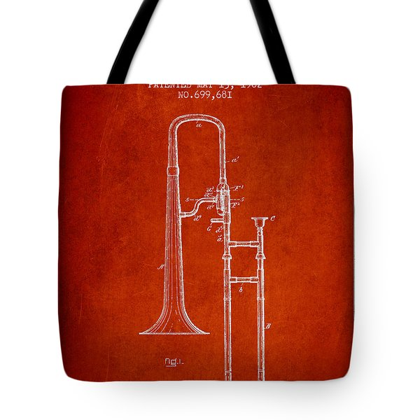 Trombone Patent From 1902 - Red Tote Bag