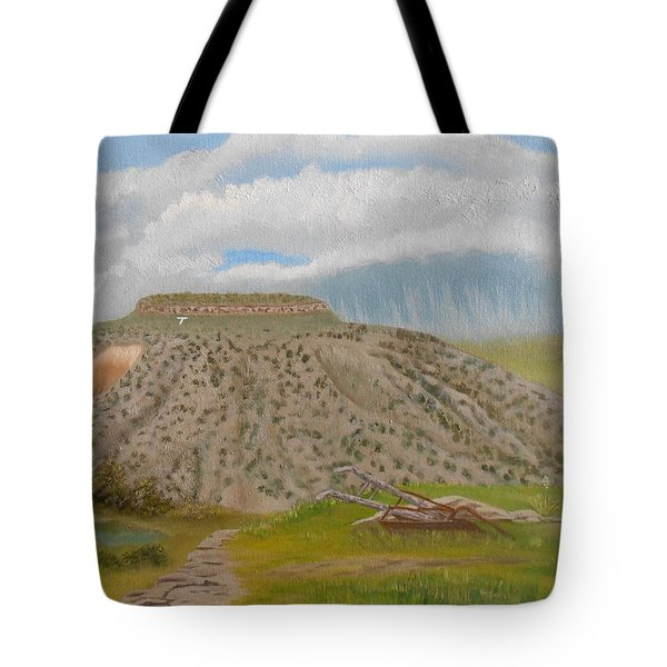 Tucumcari Mountain Reflections On Route 66 Tote Bag by Sheri Keith