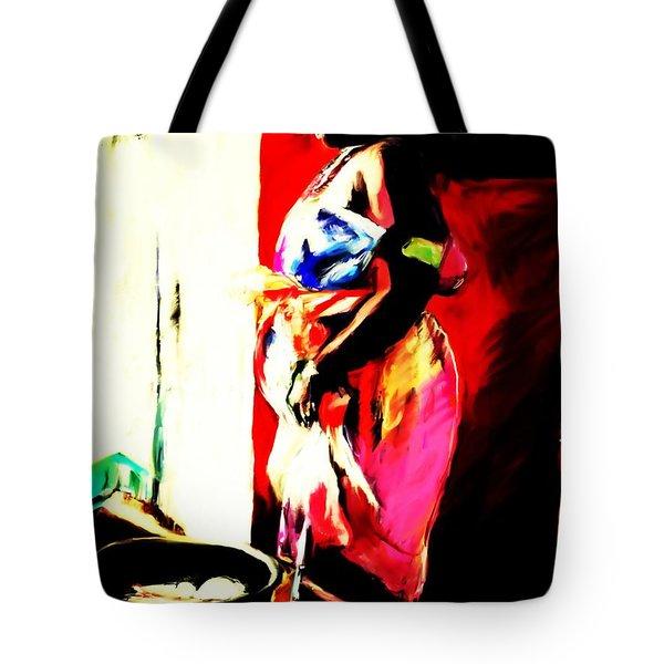 Tote Bag featuring the painting Ugunda Fish Lady by Vannetta Ferguson