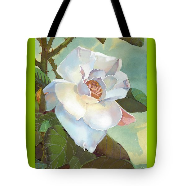Tote Bag featuring the mixed media Unicorn In The Garden by J L Meadows