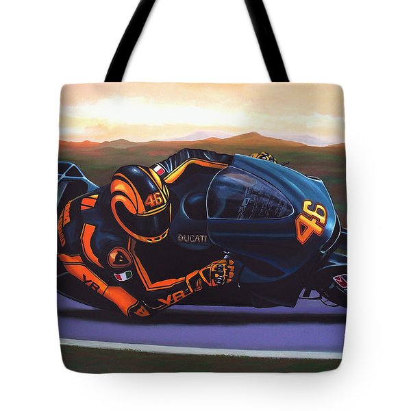 Valentino Rossi On Ducati Tote Bag by Paul Meijering