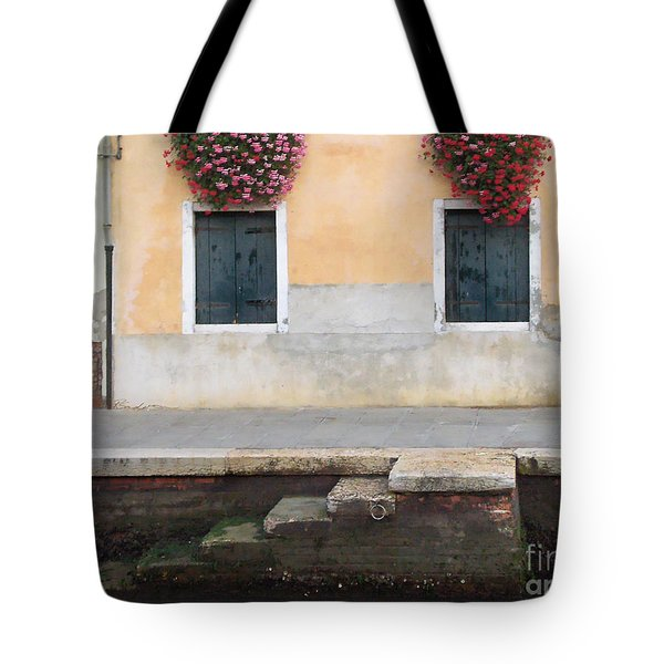 Venice Canal Shutters With Dog And Flowers Horizontal Tote Bag