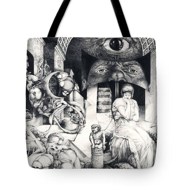 Tote Bag featuring the drawing Vindobona Altarpiece IIi - Snakes And Ladders by Otto Rapp