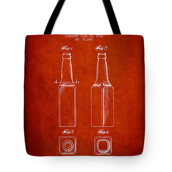 Vintage Beer Bottle Patent Drawing From 1934 - Red Tote Bag