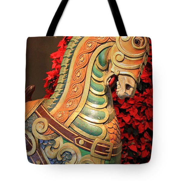 Vintage Carousel Horse Tote Bag by Suzanne Gaff