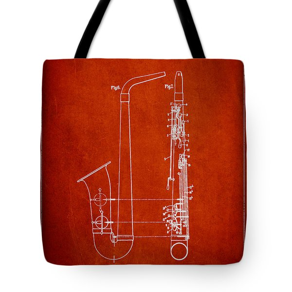 Saxophone Patent Drawing From 1899 - Red Tote Bag by Aged Pixel
