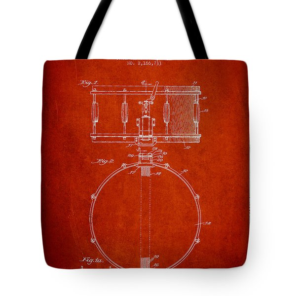 Snare Drum Patent Drawing From 1939 - Red Tote Bag by Aged Pixel