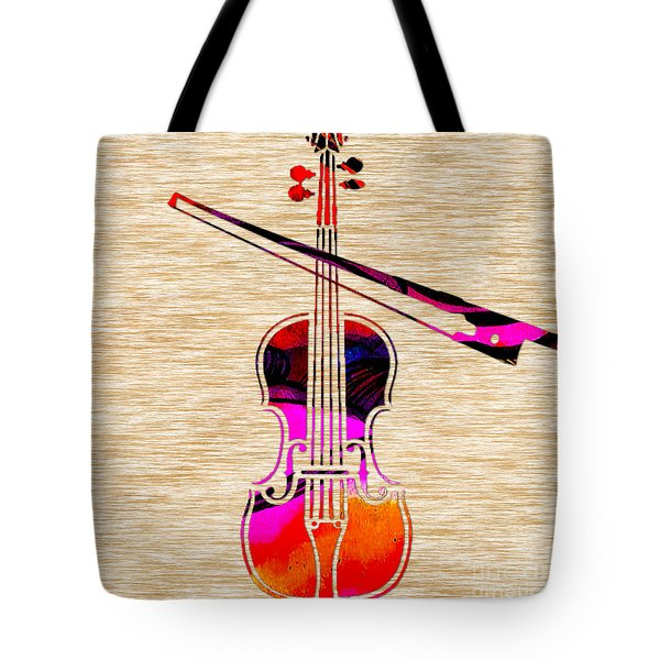 Violin And Bow Tote Bag by Marvin Blaine