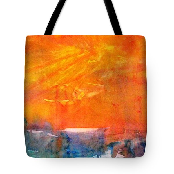Wagon Train At Sunset Tote Bag