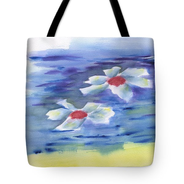 Tote Bag featuring the painting 2 Water Lilies by Frank Bright