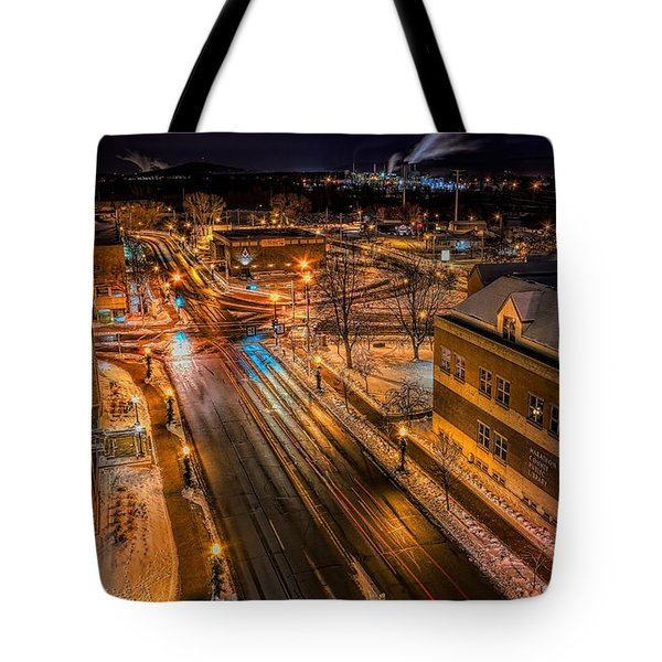 Tote Bag featuring the photograph Wausau After Dark by Dale Kauzlaric