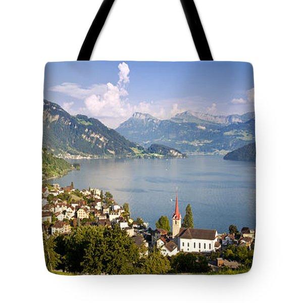 Weggis Switzerland Tote Bag by Brian Jannsen