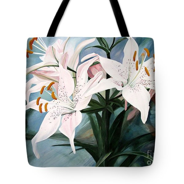 White Lilies Tote Bag by Laurie Rohner