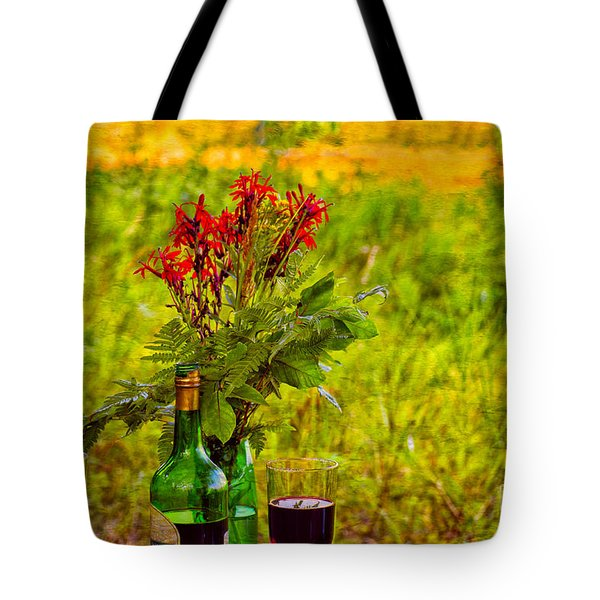 Wine And Flowers Tote Bag by Les Palenik