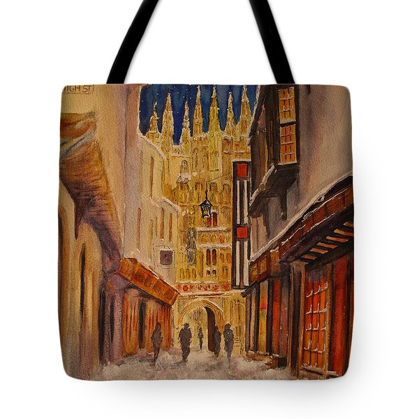 Tote Bag featuring the painting Winter In Canterbury by Beatrice Cloake
