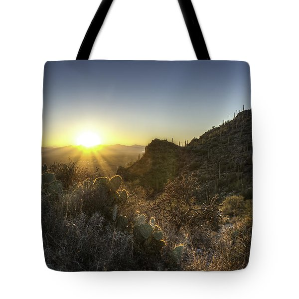 Tote Bag featuring the photograph Winter Sunset by Lynn Geoffroy