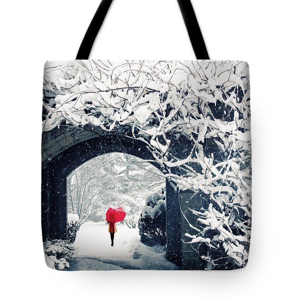 Winter's Lace Tote Bag