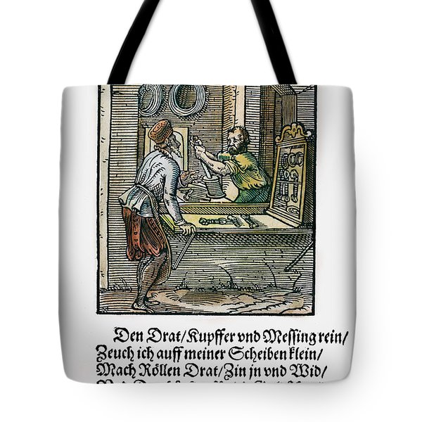 Tote Bag featuring the drawing Wiredrawer, 1568 by Granger