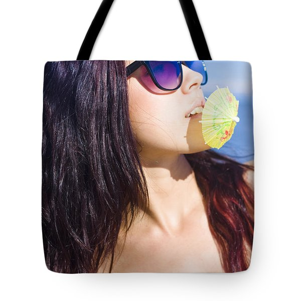 Woman On Vacation Tote Bag