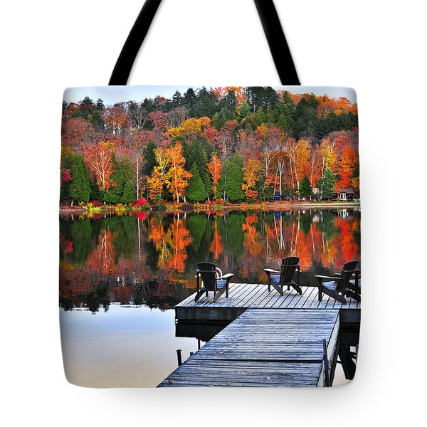 Wooden Dock On Autumn Lake Tote Bag