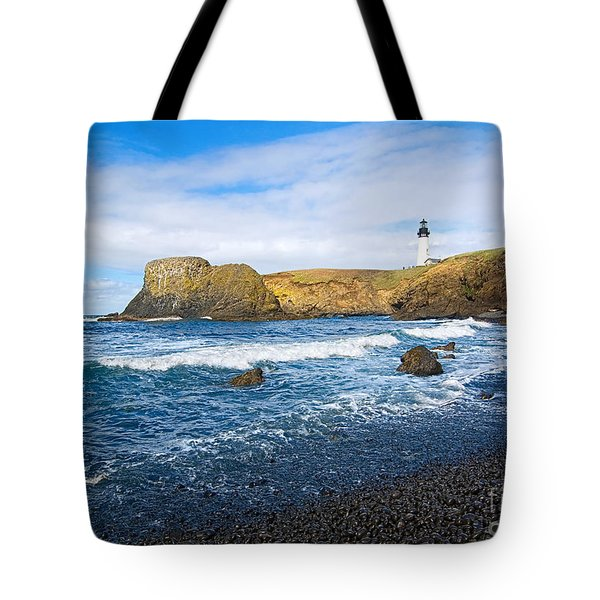 Yaquina Lighthouse On Top Of Rocky Beach Tote Bag by Jamie Pham