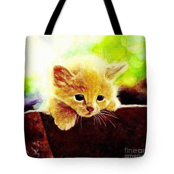 Yellow Kitten Tote Bag