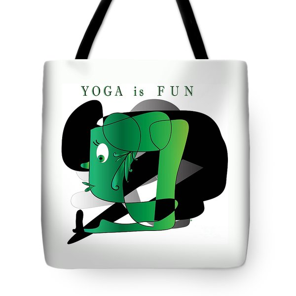 Tote Bag featuring the digital art Yoga by Iris Gelbart