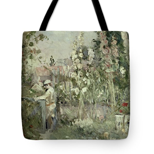 Young Boy In The Hollyhocks Tote Bag by Berthe Morisot