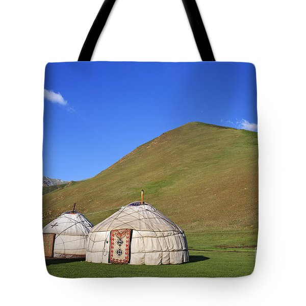 Yurts In The Tash Rabat Valley Of Kyrgyzstan  Tote Bag by Robert Preston