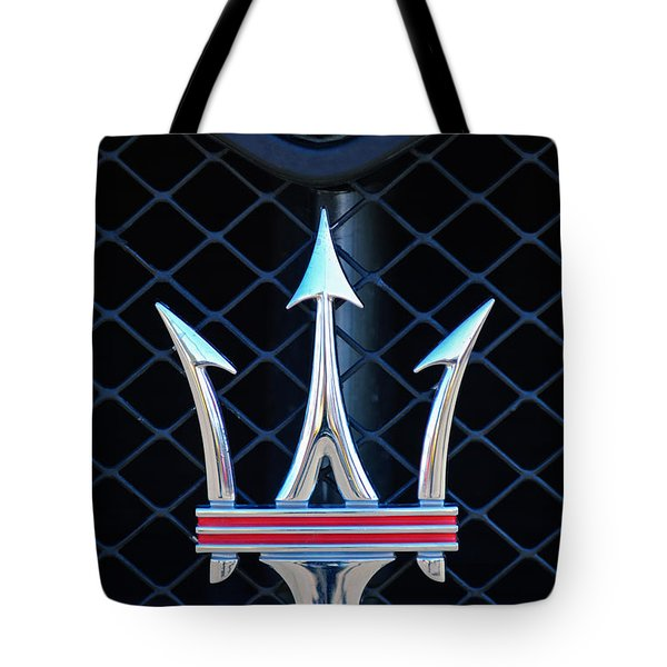 Tote Bag featuring the photograph 2005 Maserati Gt Coupe Corsa Emblem by Jill Reger