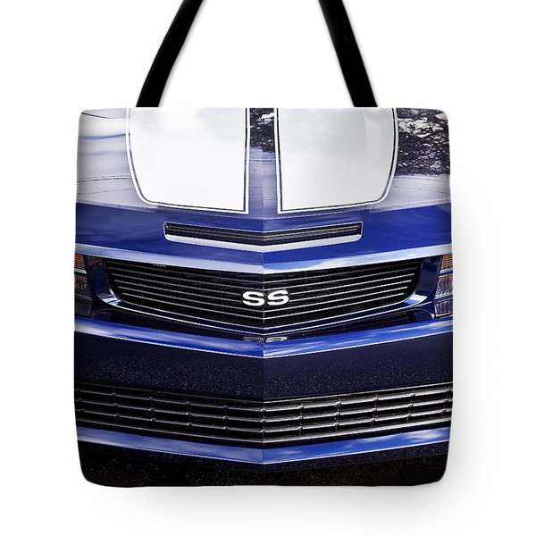 2012 Camaro Blue And White Ss Camaro Tote Bag by Rich Franco