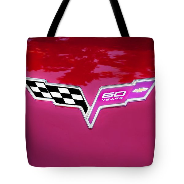 2013 Corvette 60th Anniversary Hood Logo Painted Tote Bag
