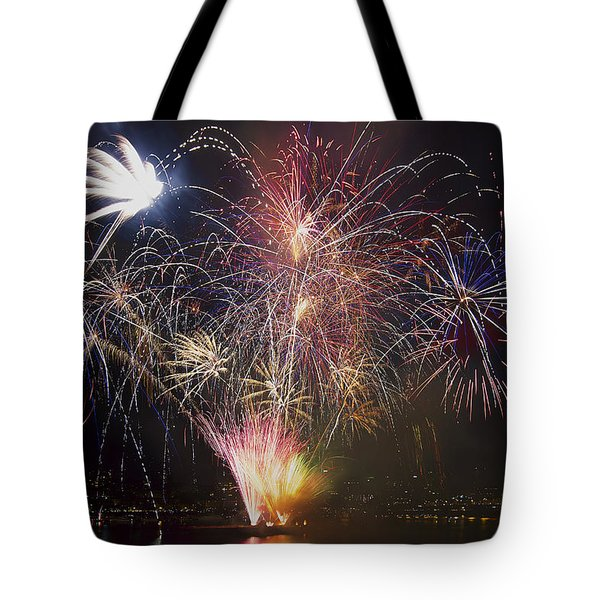 2013 Independence Day Fireworks Display On Portland Oregon Water Tote Bag by David Gn