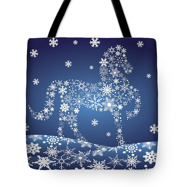 2014 Chinese Horse With Snowflakes Night Winter Scene Tote Bag