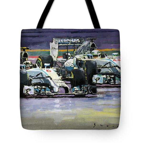 2014 F1 Mercedes Amg Petronas  Lewis Hamilton Vs Nico Rosberg Tote Bag
