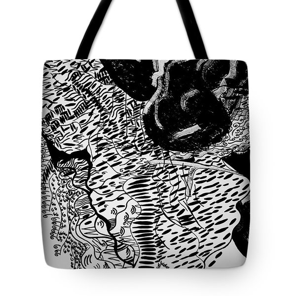 Tote Bag featuring the drawing Dinka Dance - South Sudan by Gloria Ssali